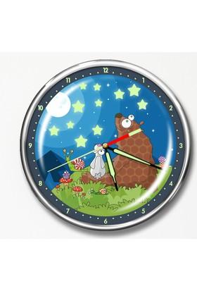 Dekor Loft Premium Gece Parlayan Çocuk Odası Duvar Saati FS-1547