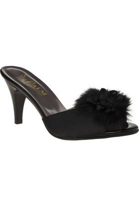 Palmiye 021 Tüylü Kisa Topuk Siyah Kadın Terlik