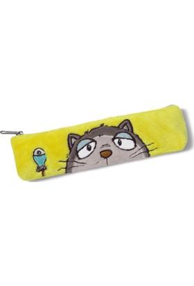 Nici Pelüş Gri Kedi Kalem Çantası 19,5X5Cm