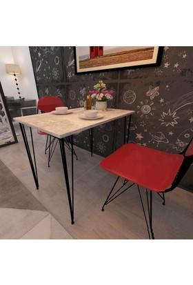 Mars Mobilya Milano XL Eskitme Beyaz Mutfak Masası