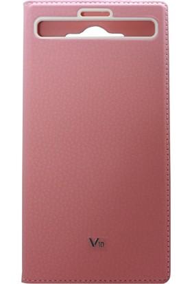 Case 4U LG V10 Kılıf Gizli Mıknatıslı Pencereli Tam Koruyan Kapaklı Kılıf - Pembe