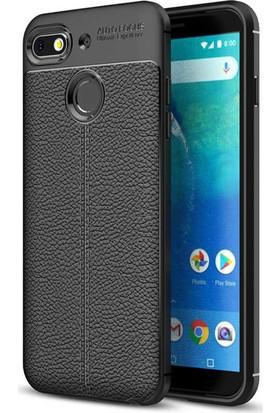Microsonic General Mobile GM8 Go Kılıf Deri Dokulu Silikon Siyah