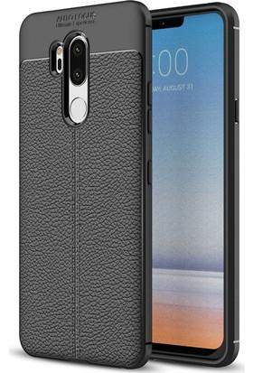 Microsonic LG G7 Kılıf Deri Dokulu Silikon Siyah