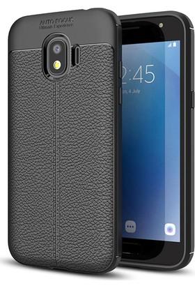 Microsonic Samsung Galaxy Grand Prime Pro Kılıf Deri Dokulu Silikon Siyah