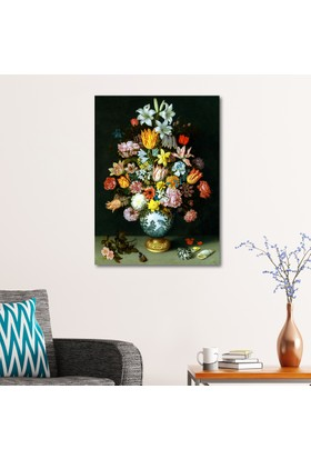 Çerçevelet Vazodaki Renkli Arajman 25 x 35 Cm Kanvas Tablo