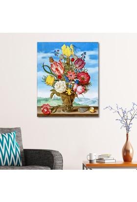 Çerçevelet Bahar Çiçekleri ve Kelebek 25 x 35 Cm Kanvas Tablo