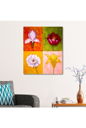 Çerçevelet Dört Çiçek 25 x 35 Cm Kanvas Tablo