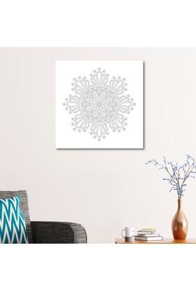 Çerçevelet Çiçek Desenli Mandala Tablosu 50 x 50 Cm Kanvas Tablo