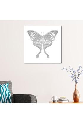 Çerçevelet Kelebek Desenli Boyanabilir Tablo 50 x 50 Cm Kanvas Tablo