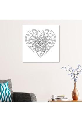 Çerçevelet Kalp Desenli Boyanabilir Tablo 50 x 50 Cm Kanvas Tablo