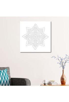 Çerçevelet Çiçek Desenli Boyanabilir Tablo 50 x 50 Cm Kanvas Tablo