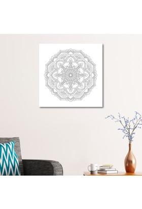 Çerçevelet Çiçek Desenli Boyanabilir Kanvas Tablo 50 x 50 Cm Kanvas Tablo