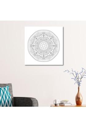 Çerçevelet Radyal ve Floral Desenli Mandala Tablosu 50 x 50 Cm Kanvas Tablo