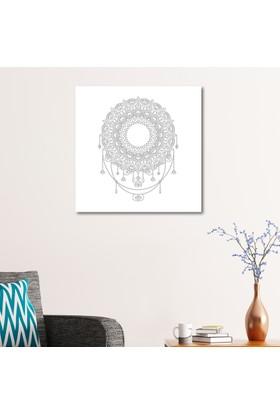 Çerçevelet Soyut Desenli Mandala Tablosu 50 x 50 Cm Kanvas Tablo