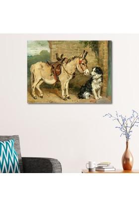 Çerçevelet Eşek ve Köpek 35 x 25 Cm Kanvas Tablo