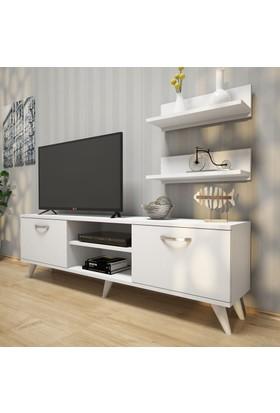 Rani A7 Duvar Raflı Tv Sehpası - Kitaplıklı Tv Ünitesi Modern Ayaklı Tasarım Minyatür Ceviz - Beyaz
