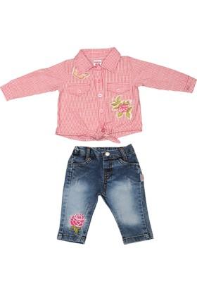 Furay Kot Pantolon 2 Parça Çiçek Nakışlı Çizgili Gömlek Takım