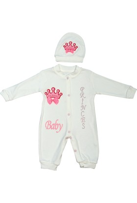 Beyaz Bebek Taç Figürlü 2 Parça Tulum Takım