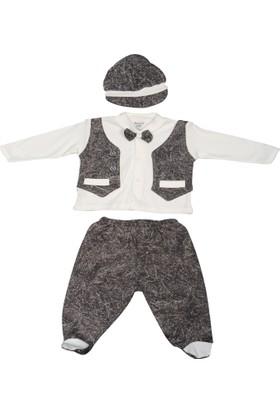 Miniworld Miniworld Papyonlu Kot Görünümlü 3'lü Şapka Body Pantolon Takım