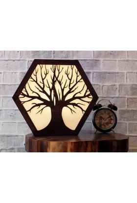 Alas Hayat Ağacı Motifli Otantik Ahşap Abajur ,Masa Lambası ,Gece Lambası