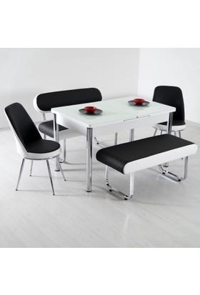 Teknoset Banklı Masa Takımı Mutfak Bank Takımı Açılır Yemek Masası - Siyah