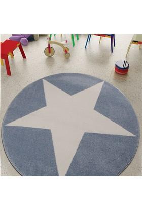 Odeon Yuvarlak Büyük Mavi Yıldızlı Çocuk Halısı