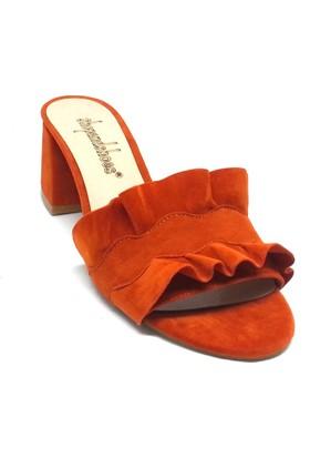 Shop And Shoes 155-318102 Kadın Terlik Turuncu Süet