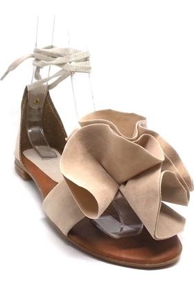 Shop And Shoes 173-05 Kadın Sandalet Bej Süet