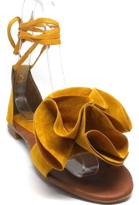 Shop And Shoes 173-05 Kadın Sandalet Sarı Süet