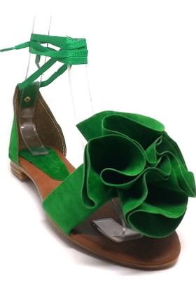 Shop And Shoes 173-05 Kadın Sandalet Yeşil Süet