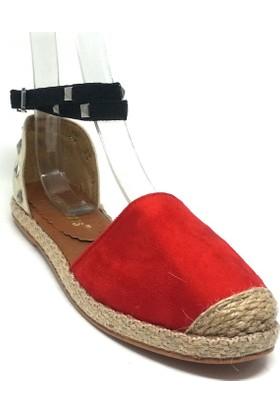 Shop And Shoes 127-1830 Kadın Espadril Kırmızı Süet