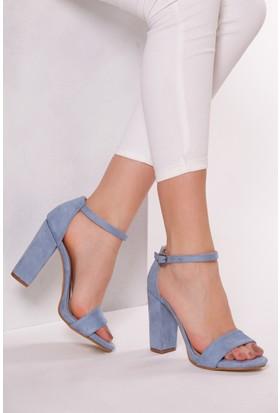 Tarçın Trc01-5005 Kadın Topuklu Ayakkabı Mavi Süet