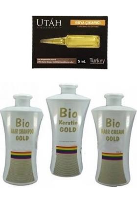 Bio Keratin Gold Kalıcı Fön Seti 700 Ml (Brezilya Fönü)+Utah Boya Çıkarıcı Temizleme Solüsyonu Hediye