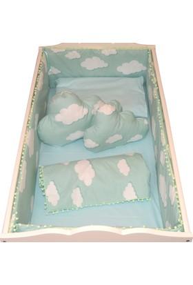 Palmy Baby Beşik Koruma Ve Bebek Uyku Seti Ve 2 Adet Bulut Yastık 9 Parça Tam Takım Yeşil Bulut Desen