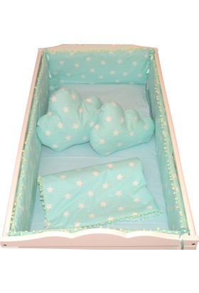 Palmy Baby Beşik Koruma Ve Bebek Uyku Seti Ve 2 Adet Bulut Yastık 9 Parça Tam Takım Yeşil Yıldız Desen