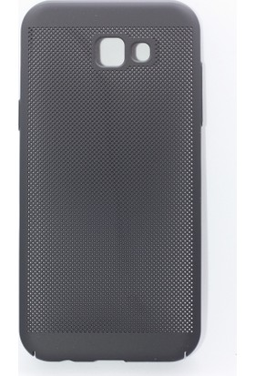 Case 4U Samsung Galaxy A8+ ( A730) Kılıf İnce Delikli Sert Arka Kapak Rubber Siyah
