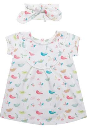 Organicera Organik Saç Bantlı Elbise Kuş Baskılı