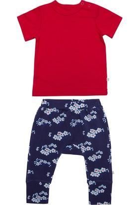 Organicera Organik Bahar Dalı Baskılı Pantolon Kırmızı T-Shirt Set