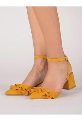 Mecrea Kadın Kingsley Sarı Tasarım Topuklu Sandalet