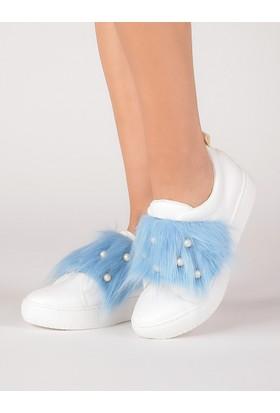 Mecrea Kadın Marcio Beyaz Turkuaz Tüylü Sneaker