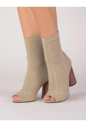 Mecrea Kadın Soares Ten Strech Tasarım Topuklu Sandalet
