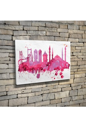 Anonim Suluboya İstanbul Silüeti Kanvas Tablo 30 x 20 cm