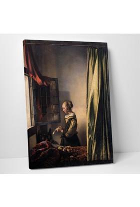 Johannes Vermeer Pencerede Kitap Okuyan Kız Kanvas Tablo 20 x 30 cm