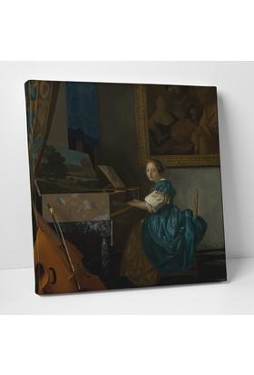Johannes Vermeer Piyano Çalan Kız Kanvas Tablo 25 x 25 cm