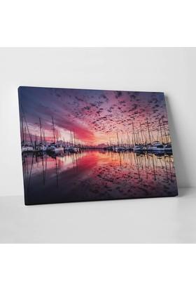 Anonim Günbatımında Yat Limanı Kanvas Tablo 30 x 20 cm