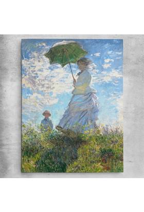 Claude Monet Şemsiyeli Kadın Kanvas Tablo 30 x 40 cm