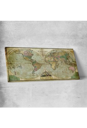 Anonim 19. Yüzyıl Dünya Haritası Kanvas Tablo 60 x 30 cm