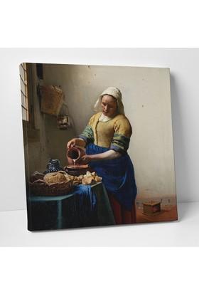 Johannes Vermeer Sütçü Kız Kanvas Tablo 90 x 90 cm