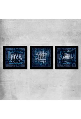 Mâbeyn Stüdyo Üç Parçalı Kufi Hat İle Ayet-el Kürsi, Nas ve Felak Suresi Yazılı Kanvas Tablo 120 x 40 cm