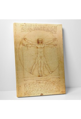 Leonardo Da Vinci Vitruvius Adamı Kanvas Tablo 60 x 90 cm